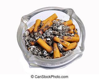 关闭, 在中, 烟灰缸, 同时,, 香烟