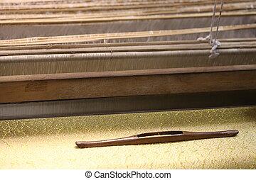 关闭, 在中, 金子, 丝绸, 编织