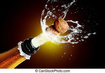 关闭, 在中, 香槟酒软木塞, 爆音