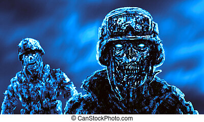 兵士, に対して, 激怒している, 厳格, ゾンビ, fire.