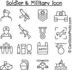 兵士, アイコン, セット, 中に, 薄いライン, スタイル