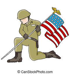 兵士, アメリカの旗, 保有物