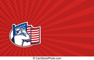 兵士, アメリカの旗, 挨拶, レトロ