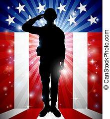 兵士, アメリカの旗, 背景, 挨拶