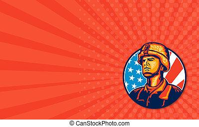 兵士, アメリカ人, レトロ, 旗, 修理人