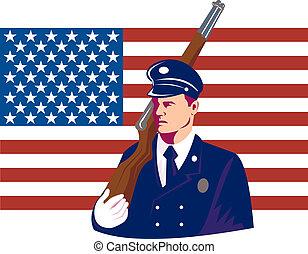 兵士, アメリカ人, 3月, 旗, ライフル銃