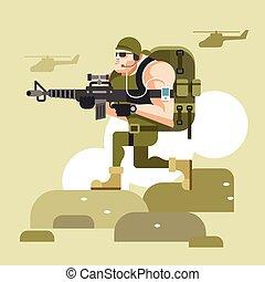 兵士, カモフラージュ, ユニフォーム