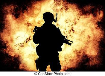 兵士, シルエット, 背景, の, 火, 爆発