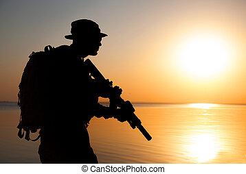 兵士, シルエット, 軍隊