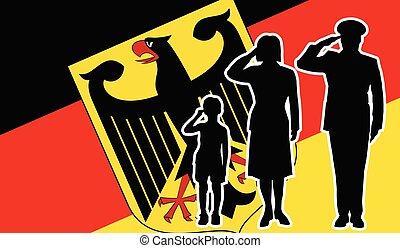 兵士, ドイツ, 家族, 挨拶