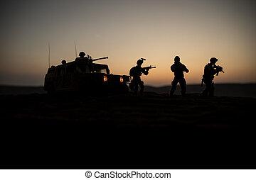 兵士, パトロール, シルエット, 精選する, アートワーク, 車, 準備ができた, decoration., 自動車...