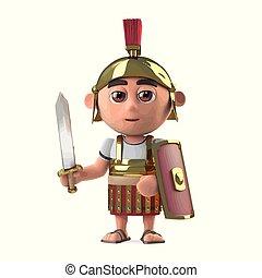兵士, ローマ人, 剣, 引かれる, centurion, 持つ, 3d