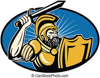 兵士, ローマ人, centurion, 保護, 剣