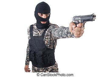 兵士, 中に, カモフラージュ, ∥で∥, 銃, 白