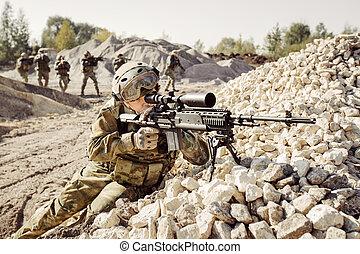 兵士, 分隊, 攻撃, カバー, 狙撃兵