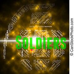 兵士, 単語, ショー, 僚友, 中に, 腕, そして, gi