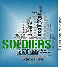 兵士, 単語, 手段, 僚友, 中に, 腕, そして, 軍隊