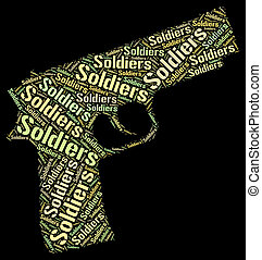 兵士, 単語, 表す, 僚友, 中に, 腕, そして, gis