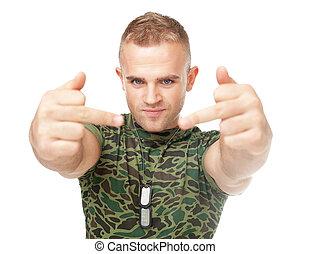 兵士, 提示, 軍隊, 若い, 指, 中央