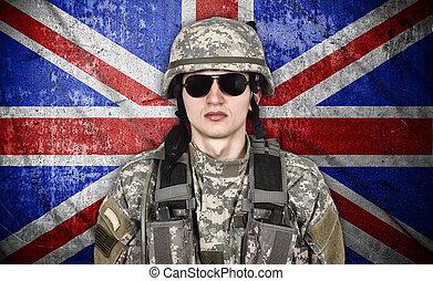 兵士, 旗, イギリス\