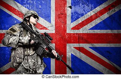 兵士, 旗, イギリス\, 背景