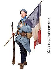 兵士, 旗, 隔離された, フランス語, 1918, 背景, 白, 1914