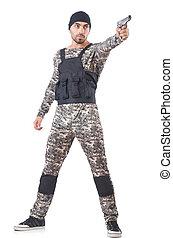 兵士, 白, 銃, カモフラージュ