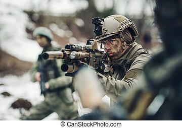 兵士, 若い, 銃