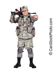 兵士, 襲撃, ライフル銃