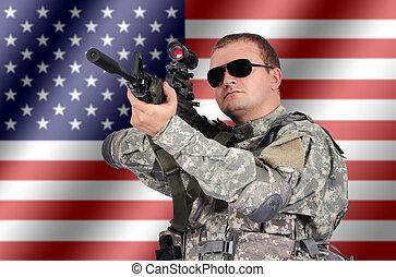 兵士, 襲撃, 彼の, ライフル銃