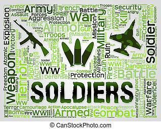 兵士, 言葉, 手段, 僚友, 中に, 腕, そして, gi