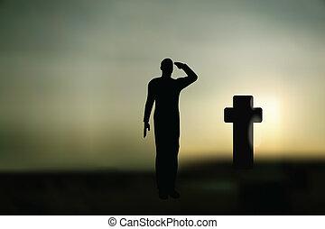 兵士, salut, シルエット, 軍隊