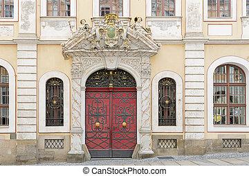 具有歷史意義, 正面, 由于, 美麗, 門, ......的, a, 居住, 在中的家, the, 鎮, ......的, goerlitz, 德國