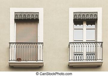 典型的, 建物の正面, 中に, ∥, 中心, の, grenoble, フランス