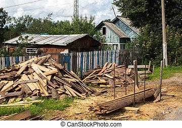 典型, 居住, 木制房子, 在, 解決, 在, 列宁格勒, 區域, russia.