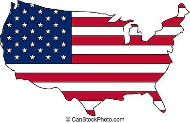 内側。, 州, 旗, 地図, ベクトル, 合併した