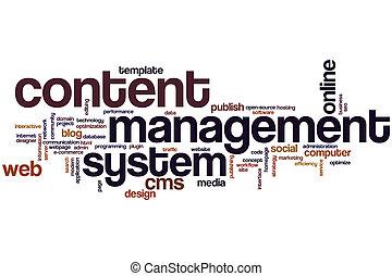 内容, 管理, システム, 単語, 雲
