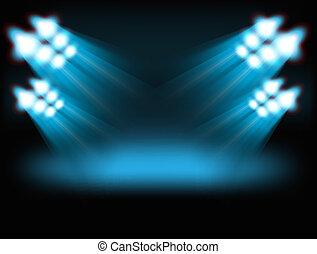 内容, lights., 明るい, スポット, テンプレート