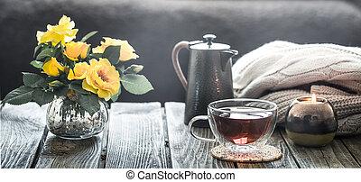 内部, お茶, 花, カップ