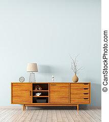 内部, ∥で∥, 木製である, ドレッサー, 3d, レンダリング