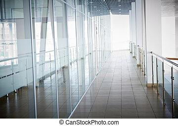 内部, の, オフィスビル