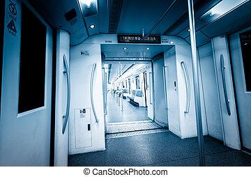 内部, の, 地下鉄 列車