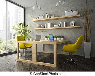 内部, の, 現代, オフィス, ∥で∥, 2, 黄色, 肘掛け椅子, 3d, レンダリング