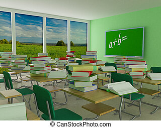 内部, の, a, 学校, class., 3d, image.