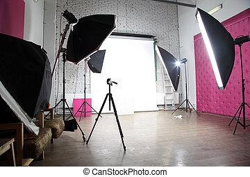 内部, の, a, 現代, 写真の スタジオ