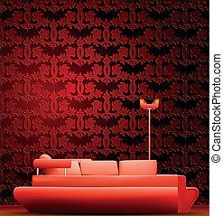 内部, の, a, 部屋, ∥で∥, ソファー, そして, 赤, wallpaper., ベクトル