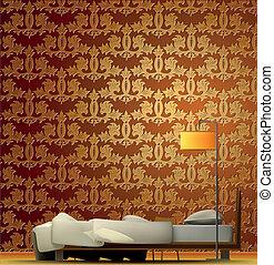 内部, の, a, 部屋, ∥で∥, ベッド, そして, 金, wallpaper., ベクトル