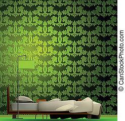 内部, の, a, 部屋, 中に, 緑, style., ベクトル
