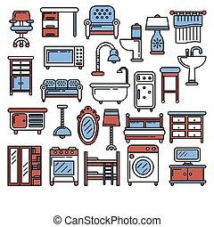 内部, アイコン, 家具, 線の意匠, 装飾, 項目, 供給