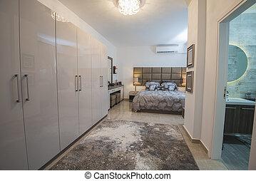 内部, アパート, デザイン, 贅沢, 寝室